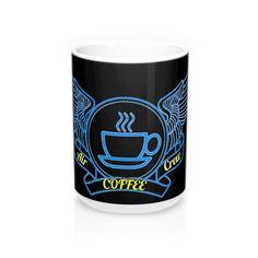 Black and Blue Air Crew Coffee Mug – PotatoCandy Potato Candy, Too Much Coffee, Blue Air, White Ceramics, Shot Glass, Coffee Mugs, Tea, Tableware, Gifts