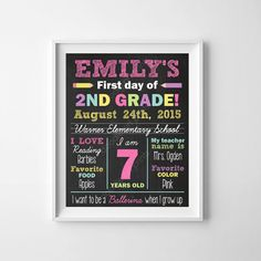 First Day of School Chalkboard Poster Sign  1st by DoodleArtPrints