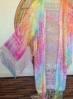 Kimono jacketdevore kimonoburnout kimonoboho by velvetcocos