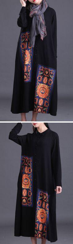[Newchic Online Shopping] 48% OFF US$ 23.88 Gracila Casual Patchwork Women Shirt Dress