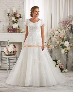 Robe de mariée col rond manches courte dentelle tulle