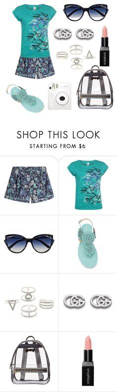 """sightseeing outfit 💙💙💙"" by yatsina ❤ liked on Polyvore featuring Burberry, Hot Tuna, La Perla, Unützer, Charlotte Russe, Gucci, Betsey Johnson and Smashbox"