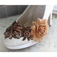 LIZBETH romantic Victorian, vintage inspired steampunk wedding shoes,... ($148) ❤ liked on Polyvore