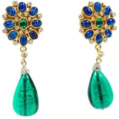 Pre-owned Kenneth Jay Lane Vintage 1960s Goldtone Blue & Green... (€375) ❤ liked on Polyvore featuring jewelry, earrings, accessories, vintage rhinestone jewelry, tear drop earrings, blue teardrop earrings, rhinestone teardrop earrings and green vintage earrings