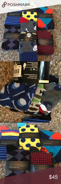 8 pairs!! Express dress socks! 8 pairs of socks! 5 express 3 academy. Golf, fishing and bowling socks, express are polka dots plaids and stripes, colors for every occasion! Sock size 8-12 and academy size 7-11, new $11 a pair, Express Underwear & Socks Dress Socks