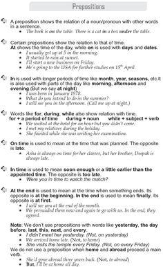 Grade 9 Grammar Lesson 44 Prepositions (1)