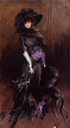 """""""Giovanni Boldini, Marchesa Luisa Casati in an extravagant Paul Poiret gown, accompanied by her greyhounds, 1908.  """""""