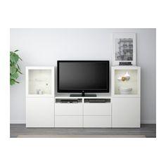 """BESTÅ TV storage combination/glass doors - Lappviken/Sindvik white clear glass, drawer runner, soft-closing, 94 1/2x15 3/4x50 3/8 """" - IKEA"""