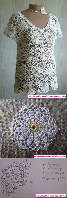 Blusa con un hermoso motivo floral!!!! | Mi Rincon de Crochet