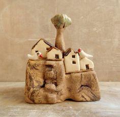 Ceramic sculpture ceramic miniature houses on a cliff by ednapio, $38.00