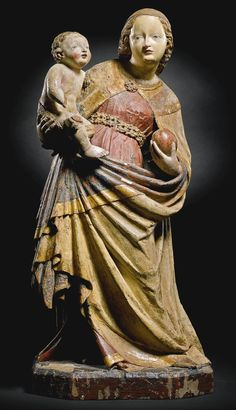 Bohemian, Prague, circa 1400-1410   SCHÖNE MADONNA   gilt and polychromed wood                                                                                                           ...