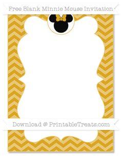 Free Goldenrod Chevron Blank Minnie Mouse Invitation