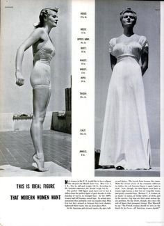 """The picture pinned above was the normal and most wanted body in the 1930's for women. The model stood at 5'6 and weighed 134 pounds. The rise in popularity of women playing sports caused the ideal body to flatten and become more """"boyish"""". - Alexandra Steckler 1/18/17"""