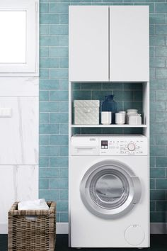 Furniture over the washing machine - Furniture over t Laundry Nook, Laundry Room Bathroom, Baby Bathroom, Laundry Room Cabinets, Laundry Room Design, Bad Room Design, Washing Machine In Kitchen, Small Toilet Room, Scandinavian Bathroom