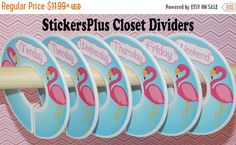 Set of 6 Assembled or DIY Days of the Week Baby Closet Divider Organizers. I may have coordinating Monthly Baby Milestone Sticker set also. If so,