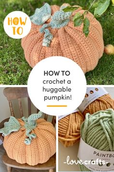 Forget traditional pumpkins! It's all about giant huggable pumpkins now! Get your hooks into this project, perfect for Halloween! | Learn with LoveCrafts.com Crochet Pumpkin Pattern, Easy Crochet Patterns, Flower Patterns, Knitted Hats, Crochet Hats, Acorn Crafts, A Pumpkin, Crochet For Beginners, Halloween Crafts