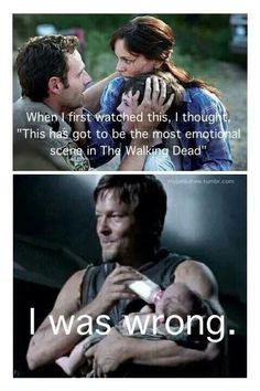 Daryl Dixon, the tough redneck who can also be a #1 nanny. ♥