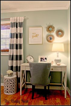 Small desk area, guest bedroom, wall decor
