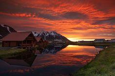Fiery sky as the sun sets over Ólafsfjörður, Iceland Source: http://redd.it/1id0gi