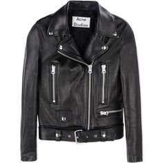 Acne Studios Leather Biker Jacket (€1.370) ❤ liked on Polyvore featuring outerwear, jackets, coats, coats & jackets, black, genuine leather biker jacket, embellished leather jacket, lined leather jacket, fleece-lined jackets and leather biker jacket