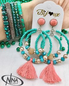 Jewelry Design Earrings, Tassel Jewelry, Bead Jewellery, Bead Earrings, Bridal Jewelry, Beaded Jewelry, Diy Schmuck, Schmuck Design, Handmade Jewelry Designs