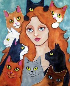 Cat Lady art quilt by Lisa Monica Nelson  fabric, acrylic paints and embroidery thread