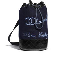 Mochila, lana bordada, piel de ternera y metal plateado, azul marino y azul - CHANEL