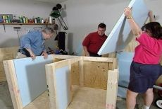 """STEP 6Insulate the WallsTo help keep your pet warm in the winter and cool in the summer, install rigid foam insulation in the wall cavities. Use either 1-1/2""""-thick foam or glue up layers of 1"""" and 1/2"""" foam. Cut these to fit and then cover them with 1/4""""-plywood. (If you don't, your pup may discover the foam is fun to nibble on.)"""