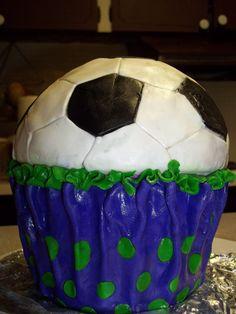 soccer cup cake  By Tasha's Cakery