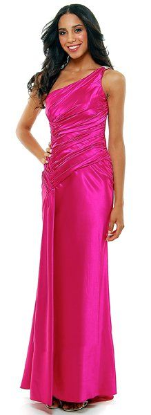 one shoulder long dresses with rhinestones