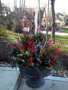 front porch planters ideas for the winter | Winter Urn Design Ideas, Pictures, Remodel, and Decor