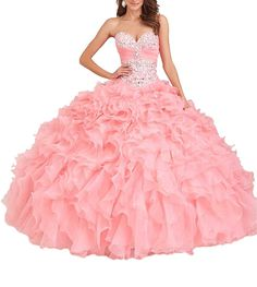 Oudy Women's Strapless Lace Up Sweet 16 Ball Gowns Crystals School Cotillion Dress ** Details can be found by clicking on the image. (This is an affiliate link and I receive a commission for the sales)