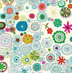 Daisy Doodle White from the Soul Garden fabric collection designed by Carolyn Gavin for P & B Textiles. Design Textile, Design Floral, Textile Patterns, Cool Patterns, Print Patterns, Textiles, Curtain Patterns, Boho Pattern, Scandinavian Pattern