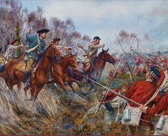 """As we proceed to the last BIG battle in South Carolina.(BATTLE OF COWPENS) Nathaniel greene leads militia, and Cont. Army and they make a great battle plan- use the militia at their advantage (""""runners"""") the militias goal was to fire 3 shots + run. This encouraged the British to follow militia- SURPRISE! we are over the hill!! big win for us :)"""