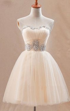 Light Champagne Tulle Beading Strapless Knee Length Homecoming Dresses,Sweetheart  Party Dresses for Teens.,41