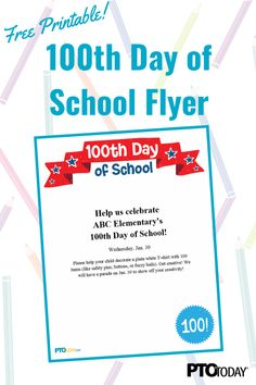 Celebrating the Day of School? Use this flyer/graphic to promote it! Plain White T Shirt, 100 Days Of School, School Shirts, Learning Tools, Pta, 100th Day, Montessori, School Ideas, The 100