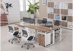High Class 4 Seater Modular Office Furniture Wooden Cabinet Partition Manufacturers
