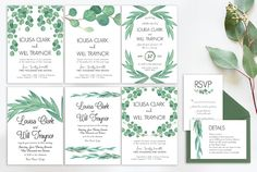 Eucalyptus Wedding Suite Vol.2 by Knotted Design on @creativemarket. Price $22 #modernweddinginvitationdesign #minimalistweddinginvitationdesign #cleanweddinginvitationdesign