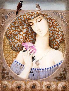 Gabriel Bonmati - - a talented artist born in 1928 in Morocco. Gabriel, Joy And Sadness, Princess Zelda, Disney Princess, Divine Feminine, Woman Painting, Morocco, Blue Grey, Whimsical