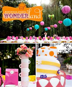 "An ""Alice in Wonderland"" inspired party. Love all the perfect details. Love the stacked tea cups and crazy cake!"