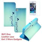 Flip Stand PU Leather Wallet Case Cover  2.5D Tempered Glass for iPhone 5/5s/SE