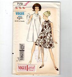 60s Vogue Dress Pattern #7170 Mod Mini Tent Dress Cloth Label Uncut Complete 14 #VogueSpecialDesign