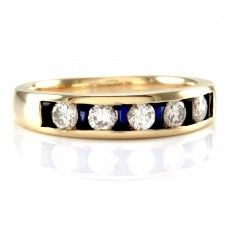 Sapphire and Diamond Anniversary Band/ Ring in 14K Yellow Gold