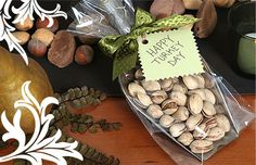 For the ride home, give departing guests somthing to snack on. Scoop pistachios & bag in cellophane & tie with a ribbon
