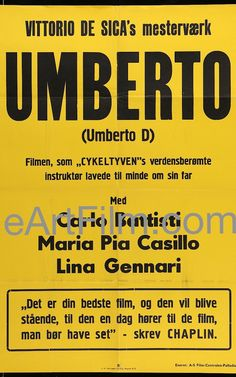 Happy Birthday #VittorioDeSica https://eartfilm.com/search?q=Vittorio+De+Sica #directors #screenwriters #actors #Italy #Italian #Italia #BicycleThieves #filmmakers #filmmaking #movie #movies #poster #posters #film #cinema #movieposter #movieposters    Umberto D 1960 Rerelease 24.75x34 Movie Poster Denmark