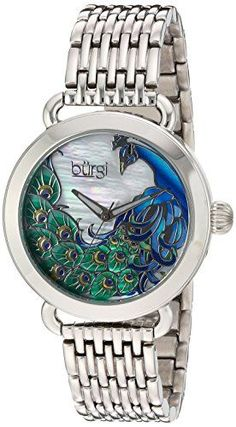 Burgi Women's Quartz Watch with Stainless-Steel Strap, Silver, 16 (Model: Stainless Steel Bracelet, Stainless Steel Case, Blue And Gold Watch, Peacock Jewelry, Casual Watches, Quartz Watch, Bracelet Watch, Jewelry Accessories, Jewelery
