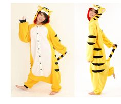 How cool are these are these animal onesies? :)Tiger adult onesie pajamas