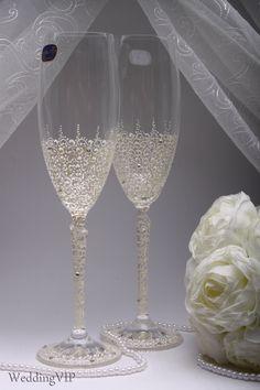 Glasses Ajur - Ivory Wedding champagne glasses - Hand painted Wedding glasses, Wedding glasses - summer wedding - spring wedding by VIZZARA on Etsy https://www.etsy.com/listing/254165246/glasses-ajur-ivory-wedding-champagne