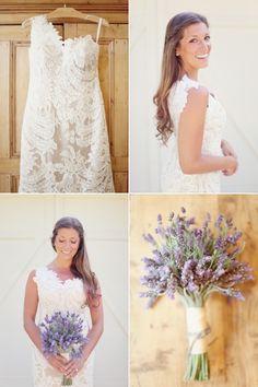 Beautiful visuals - lavender bouquet, a gorgeous lace dress, and stems of cotton