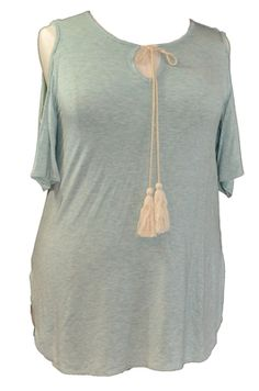 SPIN USA Plus Casual Cold Shoulder Knit Tee A fashionable twist on a classic tee, this mint heather knit fabric tee features a scoop neck with tassels and open shoulder detail. Tee has side slits at the bottom and flared sleeves. Runs small XL-2X